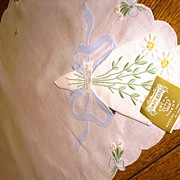 Imperial Madeira Embroidered Linen Breakfast Tray Liner Set NOS