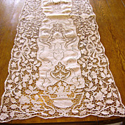 """Fine Italian Needle Lace, Linen, & Hand Embroidered Table Runner 54"""""""