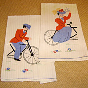 Pair of Vintage Applique & Embroidery Cyclist Towels
