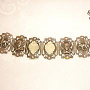 Egyptian Revival 1930s Panel Bracelet w/ Hamsa, Elephants, & Celluloid