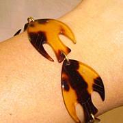 Vintage Faux Tortoise Lucite Fish Bracelet