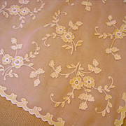French Organdy Tambour Square Tablecloth or Topper