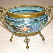 Blue Bohemian Enameled Glass Vanity Jar w/ Brass Stand