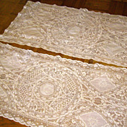 Pair of Hand-Made Ivory Normandy Lace Runners