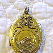 Etruscan Revival Gold Filled Double Photo Locket