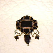 Victorian Mourning Black Onyx & 10K Gold Brooch