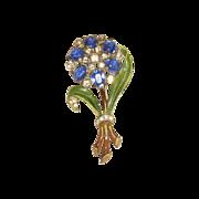 Vintage 1930s/40s Enamel Pot Metal Rhinestone Flower Pin