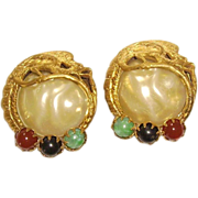 Unsigned Art Glass & Faux Pearl Earrings with Phoenix