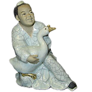 SALE Pottery Numbered China Boy Holding Goose Figurine