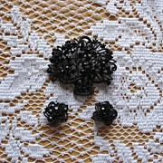 Black Rhinestone Floral Basket Pin and Earring Set
