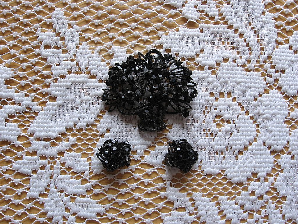 Black Rhinestone Floral Basket Pin and Earring Set