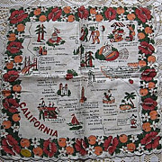 SALE Vintage Cotton California Souvenir Handkerchief