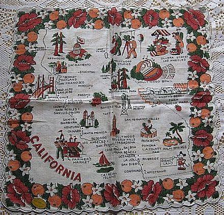 Vintage Cotton California Souvenir Handkerchief