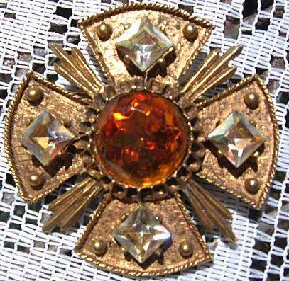 Signed Dodds Maltese Cross Brooch Pin