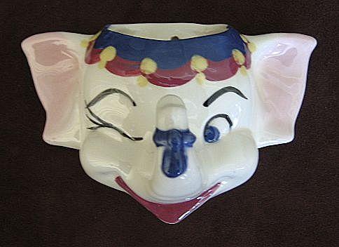 California Cleminsons Pottery Elephant Wall Pocket