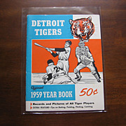 "Rare ""1959 Detroit Tigers Official Yearbook"" With Tiger and Batting"