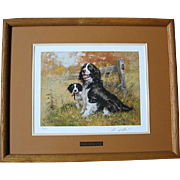 "SALE Beautiful Signed Framed Robert K. Abbett ""English Spring & Pup"" Print"