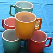 1950's Hazel Atlas Kiddie  Ware Glass Mugs Set Of Ten