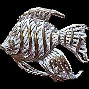 Enamel Rhinestone Figural Fish Pin