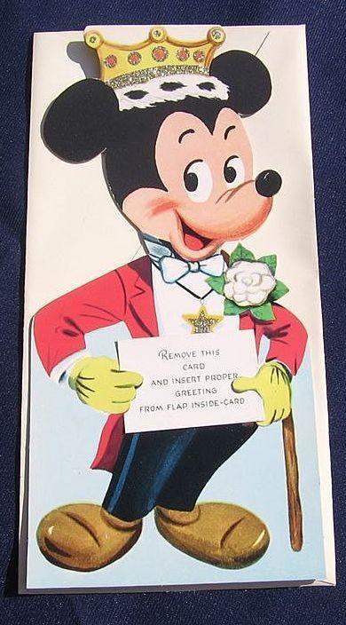 Rare 1940's Unused Gibson Walt Disney Micky Mouse Kiddycard