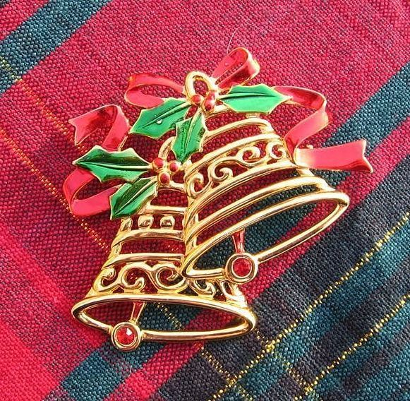 Signed JJ Double Bell Christmas Pin