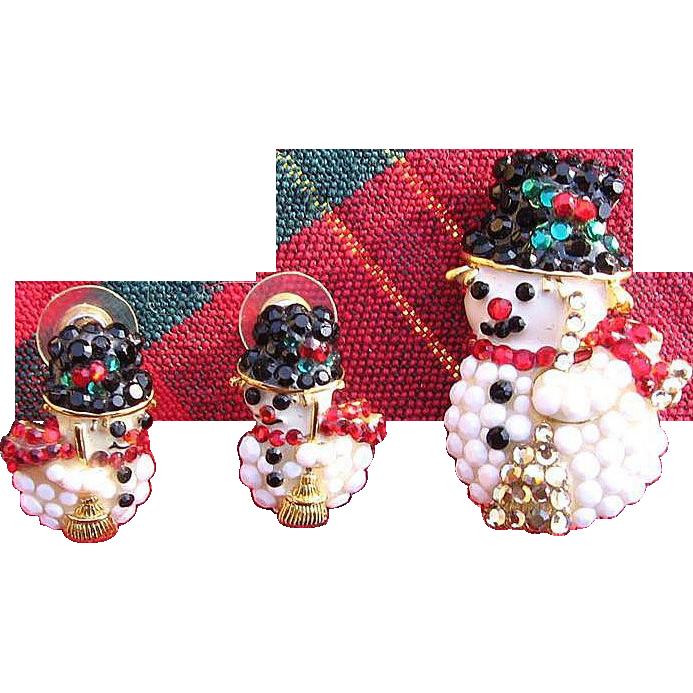Charming Rhinestone Snowman Pin and Earring Set