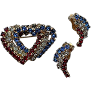 SALE Patriotic Rhinestone Heart Pin and Clip Earrings Set