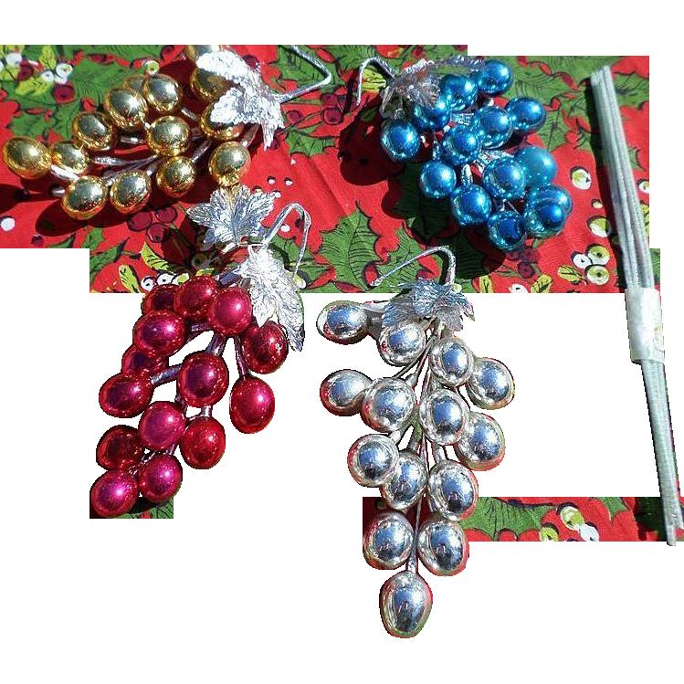 Christmas Mercury Glass Grape Clusters