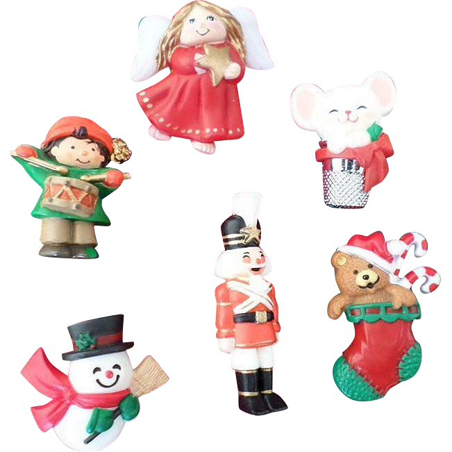 Hallmark Plastic Christmas Pin Lot 3