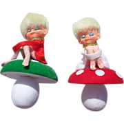 SALE Adorable Knee Hugger Pixie Toadstool Christmas Ornaments