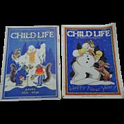 January 1930's Child Life Children Magazine Set Of Two