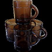 Fireking Amber Glass Ranger Barrel Set of Six Mugs