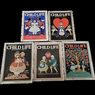 SALE 1930's Child Life February Valentine Magazine Set Of Five