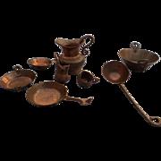 SALE Copper Miniature Doll Houseware Set