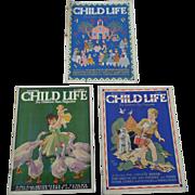 1930's September Child Life Magazine Set of Three