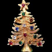 Signed Eisenberg Ice Rhinestone Christmas Tree Pin