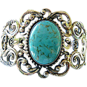 Vintage signed DANECRAFT sterling and faux turquoise cuff