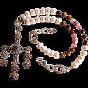 Vintage Yalalag sterling cross and tiger eye necklace
