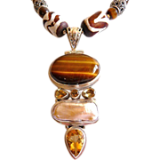 Bohemian tribal sterling and tiger eye pendant necklace OOAK
