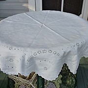 """Embroidered Broderie Anglais White Linen 46"""" Round"""