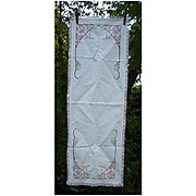 Embroidered Pink Roses Red and White Crochet Edging Runner