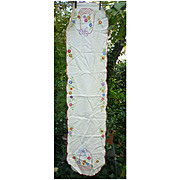 Embroidered Colorful Flower Baskets Extra Long Linen Runner