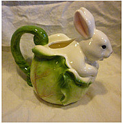 Applause Inc Bunny Rabbit on Cabbage Pitcher