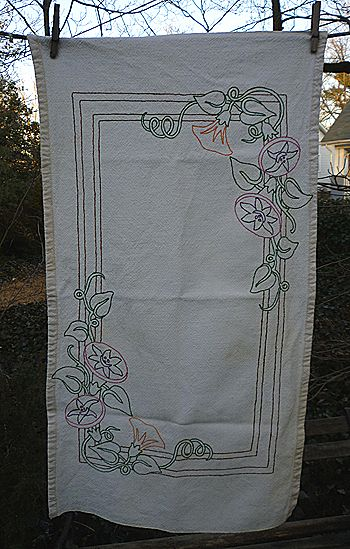 Arts & Crafts Mission Lotus Blossom Embroidered Runner Centerpiece
