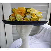 Exclusively For You Lord & Taylor Yellow Flowers Blue Straw Hat