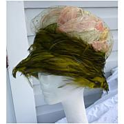 Vintage Christian Dior Chapeaux Hat Feathers Glitter Net