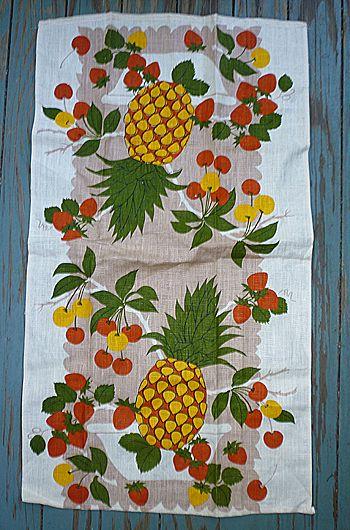 Pineapples Cherries and Strawberries Linen Towel
