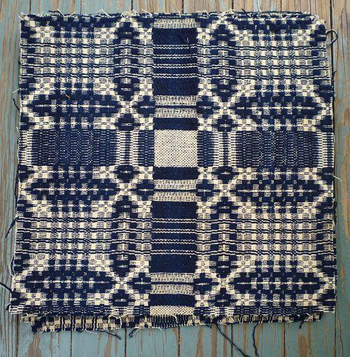 Indigo Cream Wool Jacquard Woven Coverlet Cuts