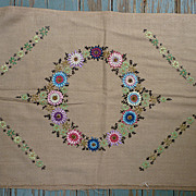 Wreath of Flowers Arts & Crafts Embroidery Linen for Pillow