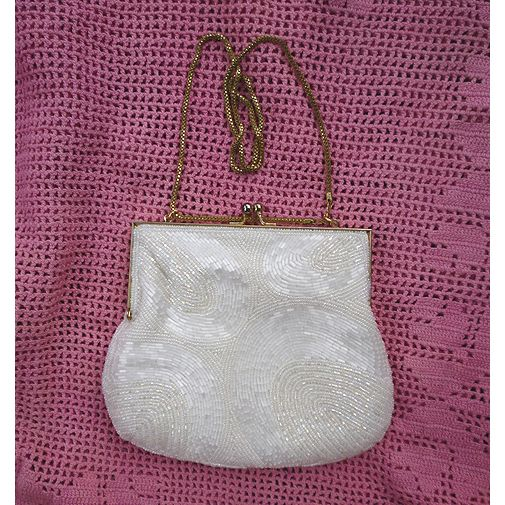 Sparkling Beaded White Satin Evening Bag Four Arches Shell Pattern